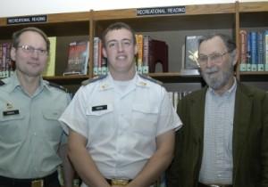 L-R, Col. Samdahl, Cadet Rister, Mr. Ayres