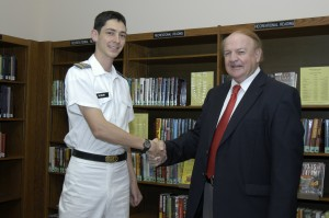 Cadet Kovarik and Bob Camper, son of Mrs. Frances Camper