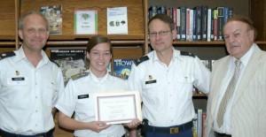 Lt. Col. Eric Osborne, Cadet Megan Scheetz, Col. Don Samdahl, Mr. Bob Camper