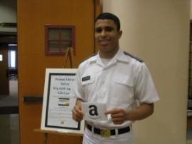 Cadet Brandon Goodwyn '16  A happy winner!