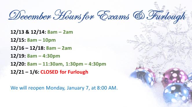December Hours for Exams & Furlough